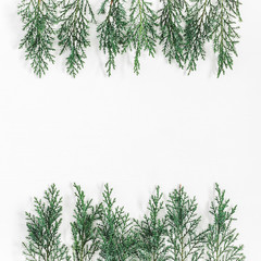 Christmas composition made of pine branches on white background. Christmas, winter, new year concept. Flat lay, top view, copy space