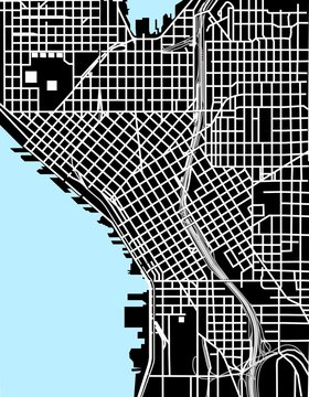 Seattle black and white vector map