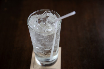 White soda on wood background