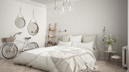 Scandinavian minimalist bedroom with big window and herringbone parquet, white interior design, close-up