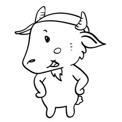 sg171006-cartoon goat standing-Vector hand drawn