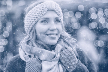 happy girl with snowflakes Christmas winter portrait