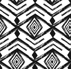 Black tribal Navajo vector seamless pattern with doodle elements. aztec abstract geometric art print. ethnic hipster backdrop. Wallpaper, cloth design, fabric, paper, textile. Hand drawn