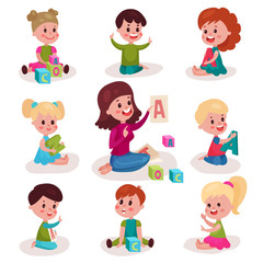Cute little boys and girls learning letters with their teacher set, kids learning through fun and play colorful cartoon vector Illustrations