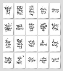 set of 20 black and white hand lettering magic quotes posters, inspirational positive phrase, calligraphy vector illustration collection