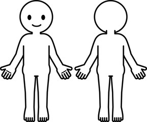 シンプルな人体のデフォルメイラスト