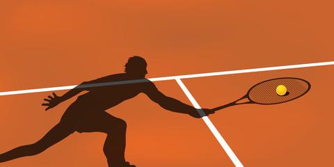 tennis - fond, balle - arrière plan - terrain - terre battue - arrière plan