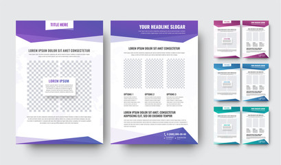 Template of a modern white flyer with blocks for text and photo
