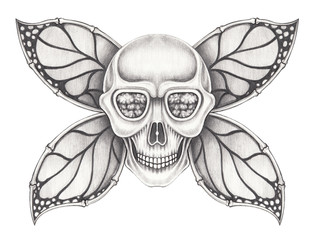 Art wings skull. Hand pencil drawing on paper.