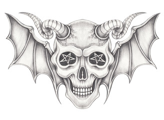 Art wings devil skull.Hand pencil drawing on paper.