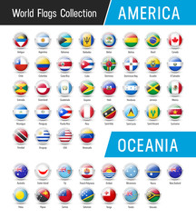 Set of American and Oceanian flags - Vector round icons