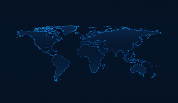 Light blue world map on dark blue background, Elements of this image furnished by NASA