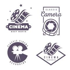 cinema labels emblem logo design element isolated on white background