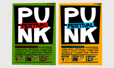 Punk Festival Poster (Flat Style Vector Illustration Music Design) Event Invitation with Venue and Time Details
