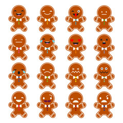 Set Emotions Gingerbread. Cute cartoon Gingerbread. Vector style smile icons.