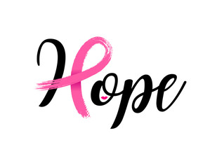 Hope lettering design with Pink ribbon, Brush style for poster, banner and t-shirt. Breast cancer awareness concept. Illustration isolated on white background.