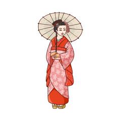 e787c799121e4 Full length portrait of beautiful geisha in Japanese kimono with paper  umbrella
