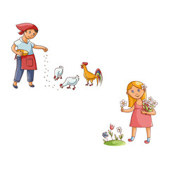 vector flat teen children at countryside scenes set. Woman feeding chickens and rooster, girl collecting flowers at meadow. Isolated illustration on a white background.
