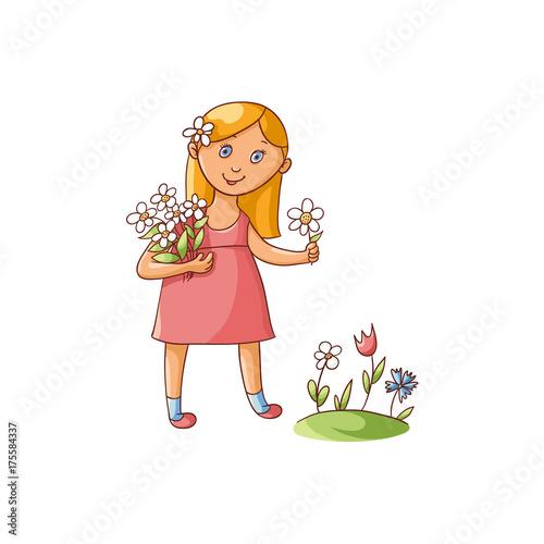 08ea8e5550d9f Cute little girl in summer dress picking flowers on the field, flat cartoon  vector illustration