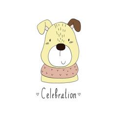 Celebration card. Hand Drawn Cute cartoon dog. vector illustration.