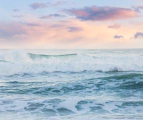 Summer ocean cloudy sunrise seascape