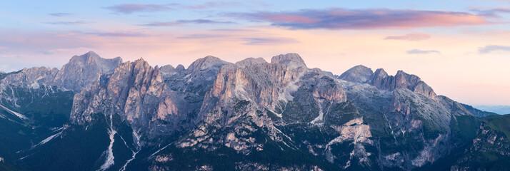 Aluminium Prints Mountains Panorama of Alpine mountain ridge landscape