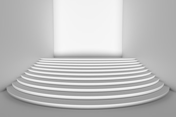 White round stairs in empty white room wide angle with direct front light