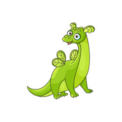 vector flat cartoon funny green dragon with horns and wings. Isolated illustration on a white background. Fairy mysterious cute creature character for your design