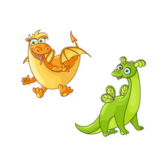 vector flat cartoon funny yellow sticking out tongue and green dragons with horns and wings. Isolated illustration on a white background. Fairy mysterious cute creature character for your design