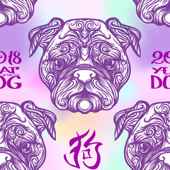 Seamless pattern with black and white graphic drawing of a dog head.
