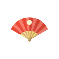 vector flat cartoon style japan symbols concept. Elegant red oriental folding fan with japanese sun sign icon. Isolated illustration on a white background.