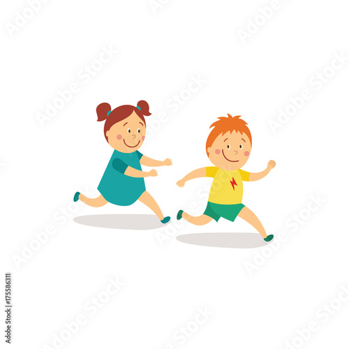 vector flat cartoon girl and boy kids having fun playing catch-up and tag  running game smiling. Children activity in a yard concept. d3646c44f741
