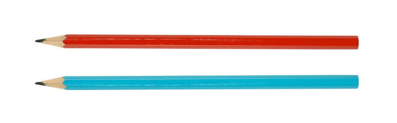 Two pencils red and blue isolated on white