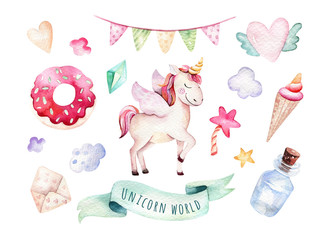 Isolated cute watercolor unicorn clipart. Nursery unicorns illustration. Princess rainbow unicorns poster. Trendy pink cartoon horse.