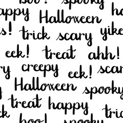 Halloween words black lettering seamless pattern white background
