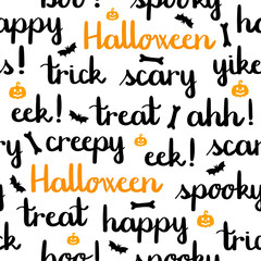 Halloween words lettering seamless pattern white background pumpkins