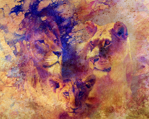 Lion family - lion, lioness and lion cub, on abstract structured background.
