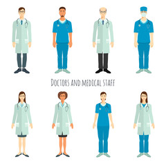 Set of doctors in flat style.