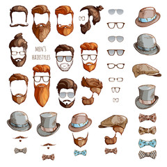 Hipster set. Beards, glasses, bow ties and hats.