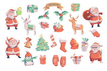 Christmas vector set. Vector illustration. Sketch with Santa Claus  christmas tree, bell, presents, deer, mittens.
