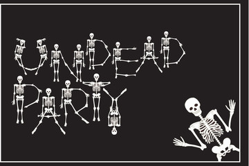Lettering undead party with dancing skeletons font, set of lette