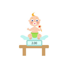 vector flat cartoon new born infant baby sitting at weighter with nipple in diaper holding rattle. Isolated illustration on a white background