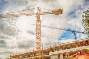 Construction crane on construction site