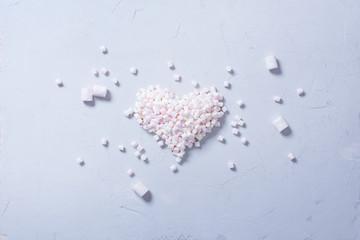 Concept Heart Colorful Mini Marshmallows Food
