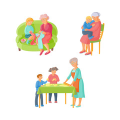 Grandparent, grandmother spending time with grandchildren - knitting, cooking, hugging, flat cartoon vector illustration isolated on white background. Grandmother and grandchildren, happy family