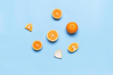 Fresh Juice Fruit Orange Glass Color Blue Flat Lay