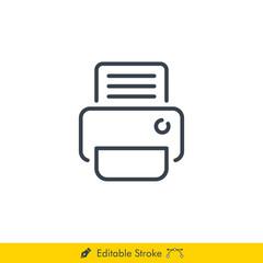 Fax Printer Icon / Vector - In Line / Stroke Design with Editable Stroke