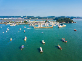 High angle view of the sea with many boat in Daebudo Island,South Korea.