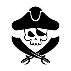 Pirate skull logo. head of skeleton and sabers. pirate symbol. Vector illustration