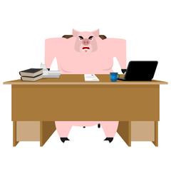 Pig boss. Piglet businessman at desk. Farm office. Vector illustration